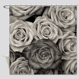 Black and White Rose Bouquet Shower Curtain
