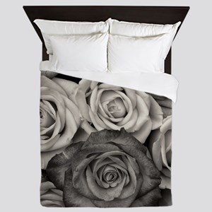 Black and White Rose Bouquet Queen Duvet