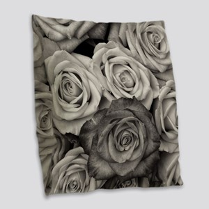 Black and White Rose Bouquet Burlap Throw Pillow