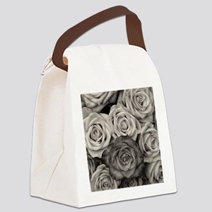 Black and White Rose Bouquet Canvas Lunch Bag