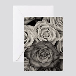 Black and White Rose Bouquet Greeting Cards