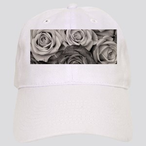 Black and White Rose Bouquet Cap