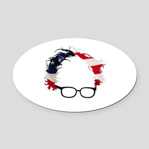 Bernie Flag Hair Oval Car Magnet