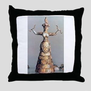 Snake Goddess of Knossos Throw Pillow