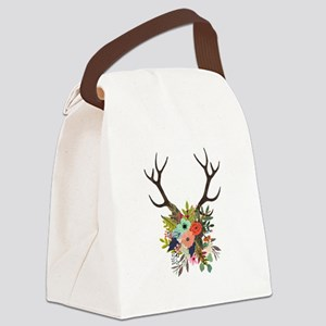 Antlers with Flowers Canvas Lunch Bag