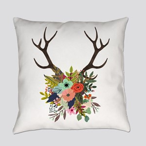Antlers with Flowers Everyday Pillow