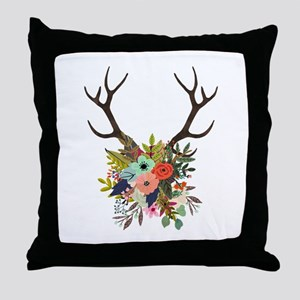 Antlers with Flowers Throw Pillow