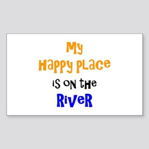 happy place on river Sticker (Rectangle)