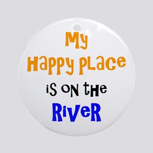 happy place on river Round Ornament