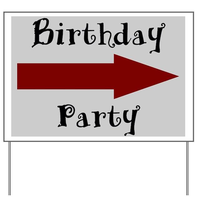 Birthday Party Arrow Grey Yard Sign By Alley
