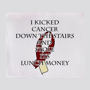 Cancer Bully (Burgundy & Cream) Throw Blanket