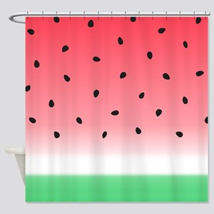 Watermelon Ombre Stripes Shower Curtain