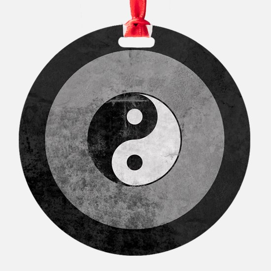 Distressed Yin Yang Symbol Ornament
