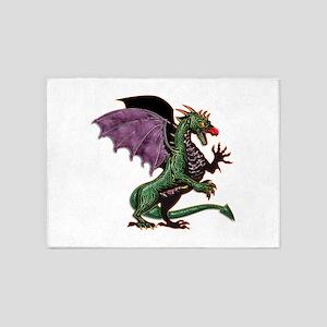 Purple & Green Dragon 5'x7'Area Rug