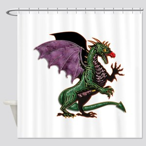 Purple & Green Dragon Shower Curtain
