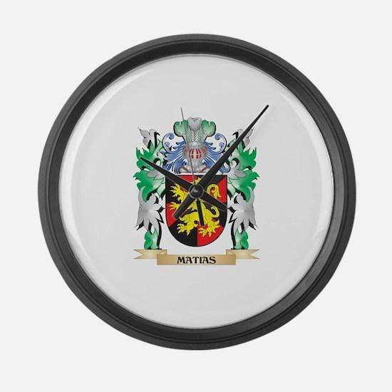Matias Coat of Arms - Family Cres Large Wall Clock