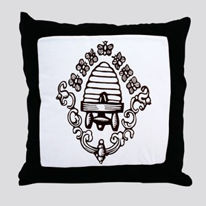 """""""Beehive & Bees"""" Throw Pillow"""
