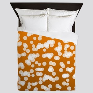 Blurry Lights: Deep Orange Queen Duvet