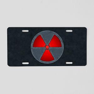 Red Radiation Symbol Aluminum License Plate