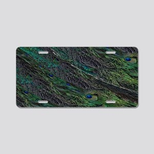 Flowing Green Peacock Eye Feather Aluminum License