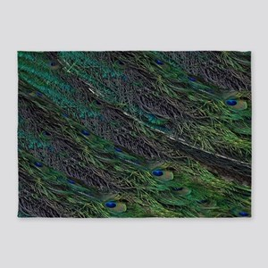 Flowing Green Peacock Eye Feather 5'x7'Area Rug