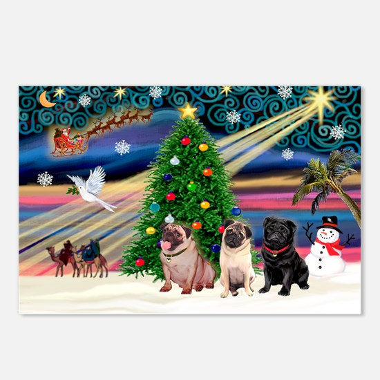 Xmas Magic & 3 Pugs 1b,2f Postcards (Package of 8)