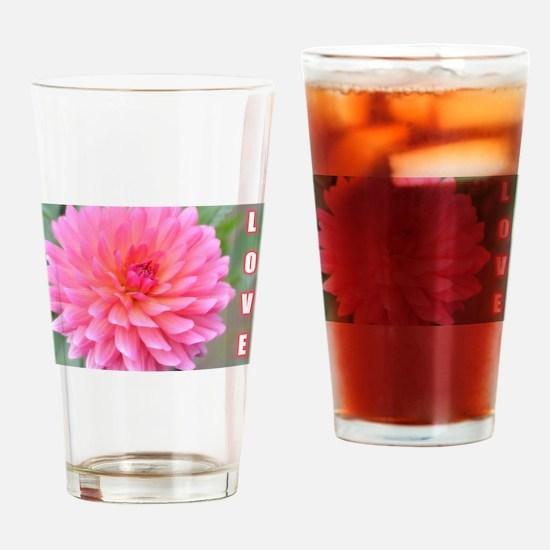 Pink Love Dahlia Drinking Glass