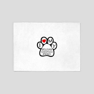 I Love My Belgian Sheepdog 5'x7'Area Rug