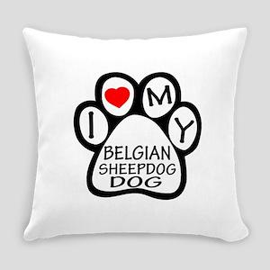 I Love My Belgian Sheepdog Everyday Pillow