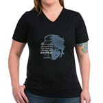EmoJoy: Emo 001 Women's V-Neck Dark T-Shirt