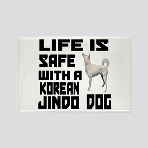Life Is Safe With A Jindo Rectangle Magnet