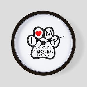 I Love My Australian Terrier Dog Wall Clock