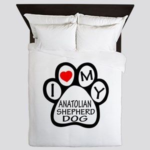 I Love My Anatolian Shepherd dog Queen Duvet
