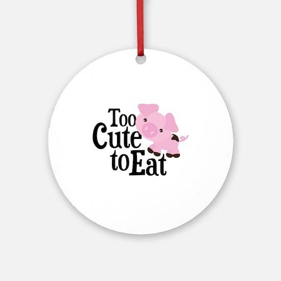 Vegan Pig Round Ornament