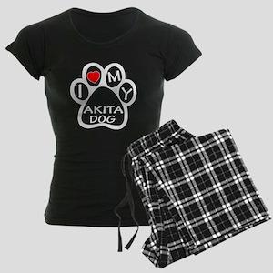I Love My Akita Dog Women's Dark Pajamas
