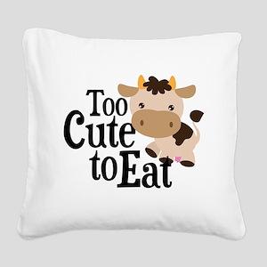 Vegan Cow Square Canvas Pillow