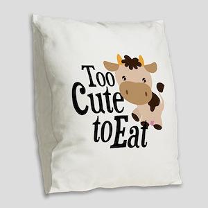 Vegan Cow Burlap Throw Pillow