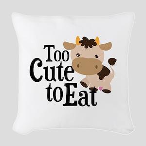 Vegan Cow Woven Throw Pillow
