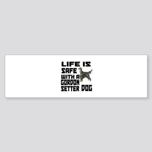 Life Is Safe With A Gordon Setter Sticker (Bumper)