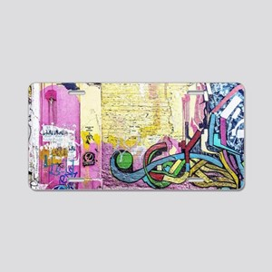 Neon Yellow & Pink Graffiti Aluminum License Plate