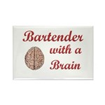 Bartender With Brain Rectangle Magnet (10 pack)