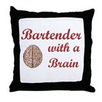 Bartender With Brain Throw Pillow