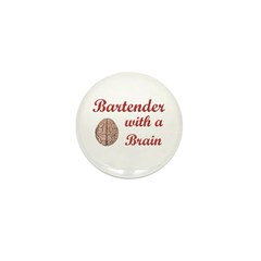 Bartender With Brain Mini Button (10 pack)