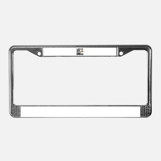 Life Is Safe With A Goldendood License Plate Frame