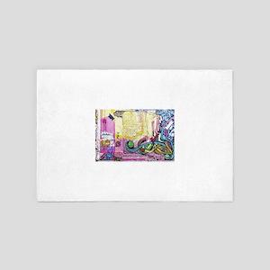 Neon Yellow & Pink Graffiti 4' x 6' Rug