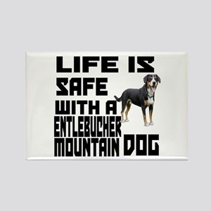 Life Is Safe With A Entlebucher M Rectangle Magnet