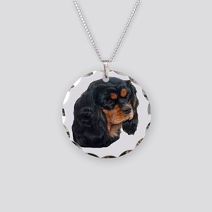 Black and Tan Cavalier King Necklace Circle Charm