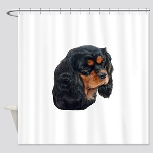 Black and Tan Cavalier King Charles Shower Curtain