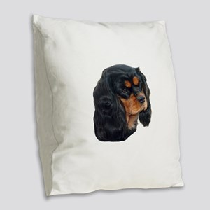 Black and Tan Cavalier King Ch Burlap Throw Pillow