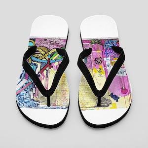 Neon Yellow & Pink Graffiti Flip Flops